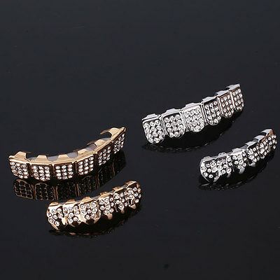 Hip Hop Gold Plated Rhinestones Mouth Teeth Grillz Halloween Christmas Gift