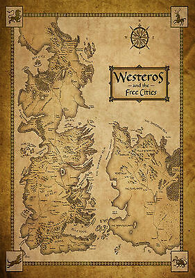 Game Of Thrones - Map Of Westeros - Quality Glossy Photo Print - A4 Size