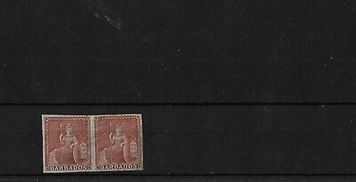 BARBADOS 4d BROWNISH RED MOUNTED MINT PAIR, 4 MARGINS, SG5, CAT £240+