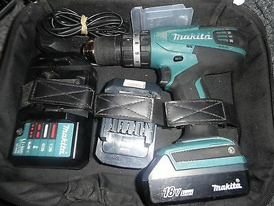 Makita 18v  Li-ion Cordless Hammer Combi Drill + 2 x Batterys , Charger & Case