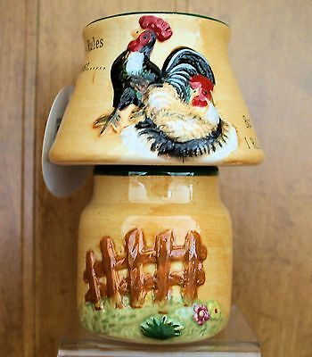 ROOSTER HEN Candle Holder Country Home Decor Barnyard NEW !