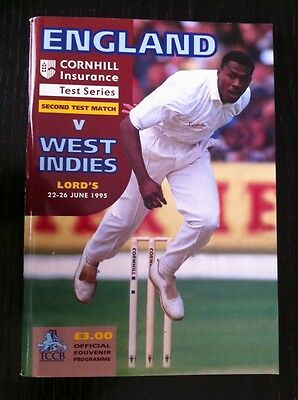 England v West Indies 1995 Cricket Programme and Scorecard Lord's