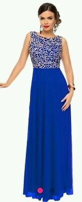New royal blue gold lace cocktail evening Gown Size 10-12-14