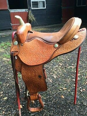 "Ornate Leather Western Saddle 16"" seat"