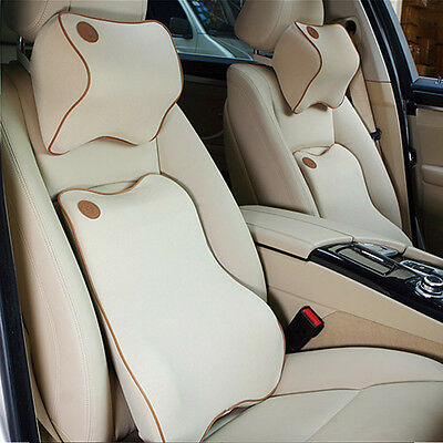 Beige Seat Cover Car Memory Foam Lumbar Cushion + Neck Pillow Premium Set Kit