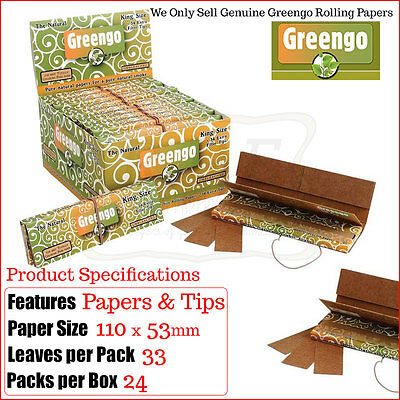 Greengo King Size Unbleached Rolling Papers & Filter Tips - Multi Listings