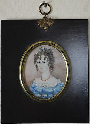 Attractive Early 19th Century Miniature Portrait Of A Lady.