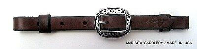 "Chocolate Leather 5/8"" Curb Strap-Jeremiah Watt Buckle- Made In Usa-Free Ship"