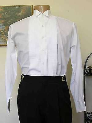 "white tuxedo shirt used wing tip collar 1/4"" pleats steampunk downton wedding"