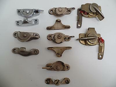 Window 2-Piece Sweep Latch Sash Lock Keeper Metal Brass Chrome Vtg Lot 7 Sets