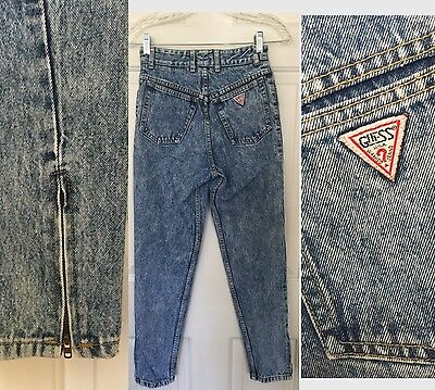 Vtg 80s 90s GUESS S Ankle Zipper Acid Wash High Waist Skinny Tapered Jeans 25x27