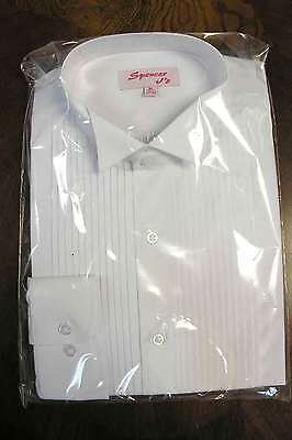 White Tuxedo Shirt Wingtip Collar 60 Cotton 40 Polyester US Seller Tux Formal