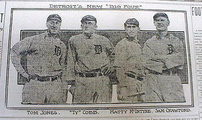 1909 newspaper w Photos of 4 DETROIT TIGERS baseball players including TY COBB