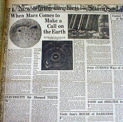 3 1924 newspapers w illustration MARS comes CLOSEST 2 EARTH Telescopes Seek Life