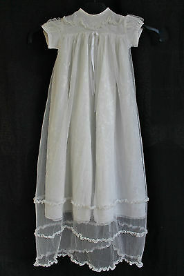 Vintage Christening Gown Baby Dress Net Lace Satin Cream 1920s - party wedding