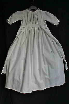 Airy Antique Vintage Baby Dress Long Full Christening Gown White Cotton Lace