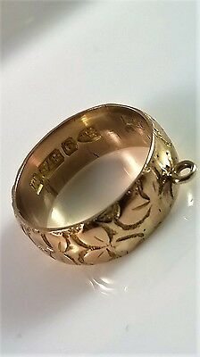 unusual antique 9ct rose gold lucky shamrock ring pendant marked Chester 1895