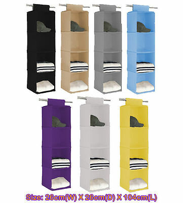 4 shelf Closet Hanging Organizer Wardrobe Storage Bin Bag Box g+5