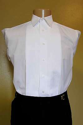 "white tuxedo shirt used laydown collar 1/4"" pleats steampunk downton wedding"