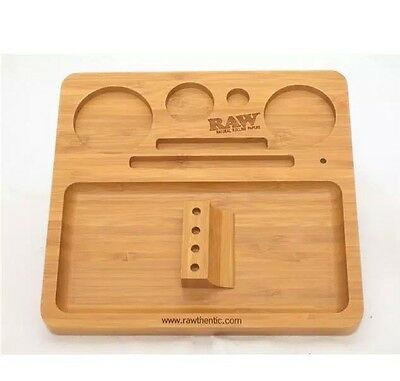 Raw Rolling Tray Dab Smoking Tobacco Bamboo Filling Wooden Box Rawthentic Papers