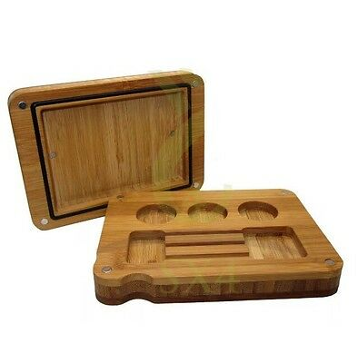 Bamboo Flip Rolling Tray Smoking Tobacco Filling Wooden Raw Dab Papers Stash