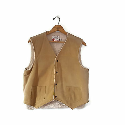 Vintage Sears The Leather Shop Tan Suede Sherpa Vest 70s Rancher Western L 44