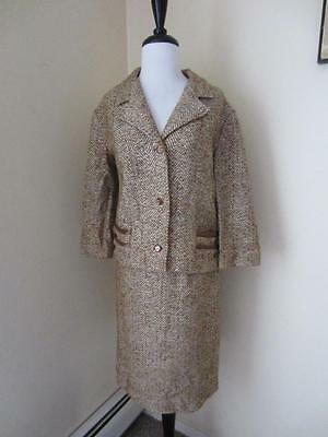 Vintage 50's Brown & Cream Tweed Skirt Suit Jacket Satin Trim Wool Herringbone M