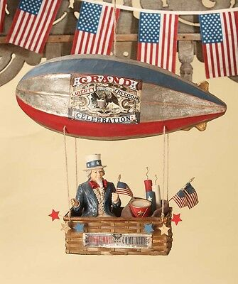 Bethany Lowe 4th July Patriotic Uncle Sam In Dirigible Zepellin New 2017 TD6016