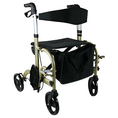 Rollator Walker Walking Frame Wheelchair Foldable Mobility Aid Indoor Outdoor