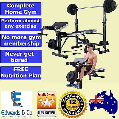 Multi Station Home Gym Bench Press Weight Rack Fitness Home Exercise Squat Curl