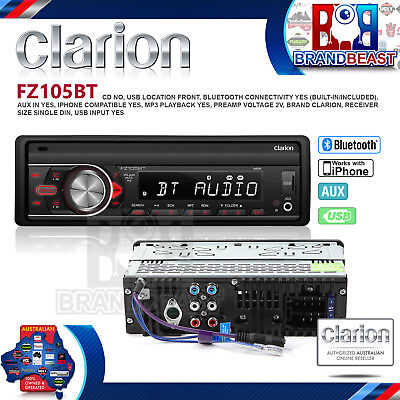 Clarion Fz105bt Car Stereo Audio Head Unit Bluetooth No Cd Usb Mp3 Ipod Aux In