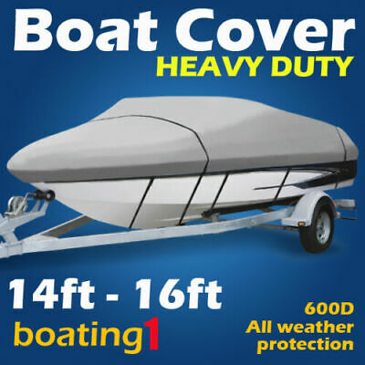 Heavy Duty Premium 600D 14ft-16ft Trailerable Marine Grade Boat Cover