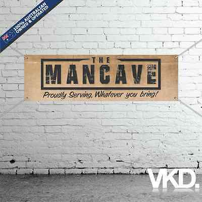 The Mancave Banner - Man Cave Bar Beer New Custom Personalised