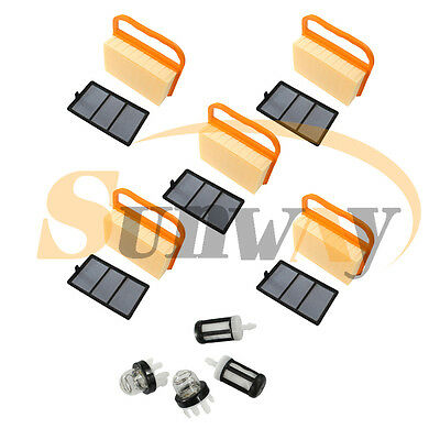 5 Air Filter Set & Fuel filter Primer Bulb For STIHL TS410 TS420 OEM 42381404401
