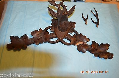 Antique Cuckoo Clock Topper with deer head and anthlerls for parts or project