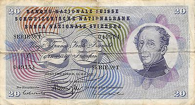Switzerland  20 Francs  15.5.1968  Series 59T circulated Banknote 5D
