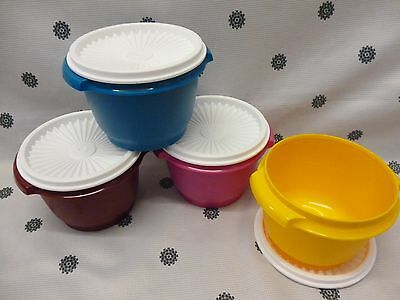Tupperware Set of 4 590ml Servalier Bowls Blue Yellow Pink Red - White Seals New