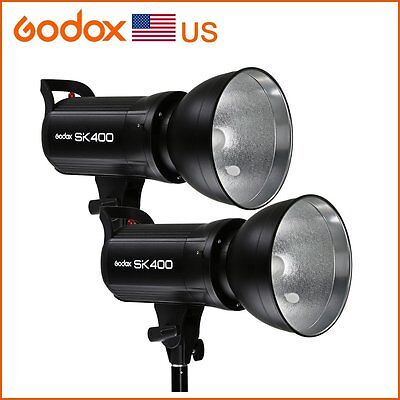 2x Godox SK400 Camera Speedlite Flash Strobe Studio Light Lamp Head Strobe Light
