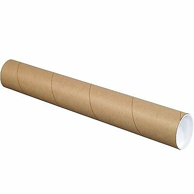 "BOX USA BP3024K Mailing Tubes with Caps, 3"" x 24"", Kraft Pack of 24"