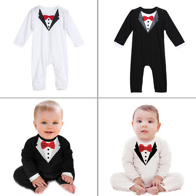 Newborn Baby Boy Gentleman Bowknot Jumsuit Rompers Outfits Clothes Sets Bodysuit