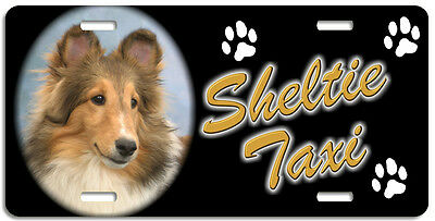 Shetland Sheep Dog 2 Taxi Line License Plate (( LOW CLEARANCE PRICE ))