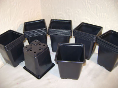 9cm SQUARE BLACK PLASTIC PLANT POTS EX VALUE YOU CHOOSE FROM `10 to 500 POTS