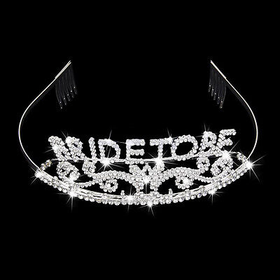 Crystal Bride to Be Tiara Hen Night Party Bachelorette Bridal Shower Gifts