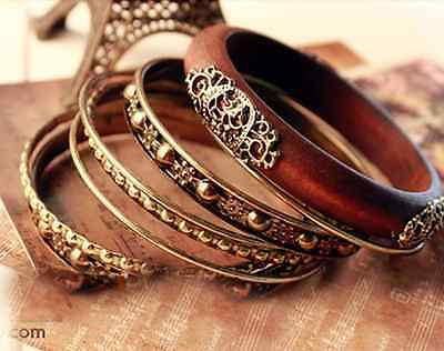 Women's Vintage Wood Carved Multi Exquisite Wristband Cuff Bangle Bracelets Hot