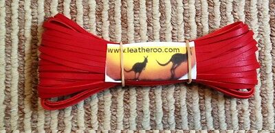"Kangaroo Lace RED Kangaroo Leather Lacing (3.0mm 1/8"" Width) 10 meter hank"