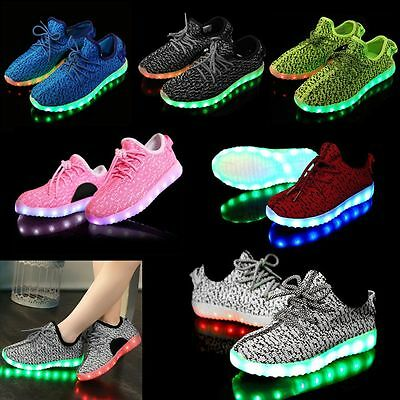 Unisex Women Men LED USB Light UP Shoes Luminous Sneakers Athletic Knit Shoes