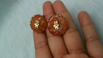 Pretty antique Chinese carved carnelian silver brass screw on earrings