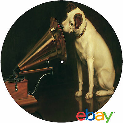 """Record Collector's His Master's Voice """"Nipper"""" 12"""" inch TURNTABLE platter MAT v"""