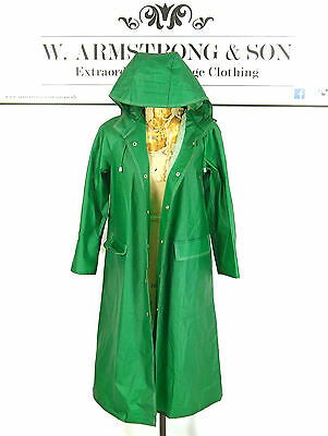 Women's Green RUKKA 70s PVC Matte VTG Cotton HOODED Raincoat Trench Mac Coat 36