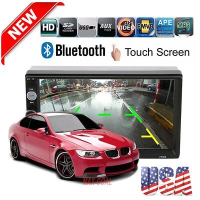 "7"" Double 2DIN Car MP5 MP3 Player Bluetooth Touch Screen Stereo Radio HD HT"